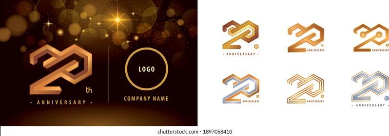 Set of 20th Anniversary logotype design, Twenty years anniversary celebration. Hexagon Infinity logo, 20 Years Celebrating Anniversary Logo silver and golden for celebration event, invitation.