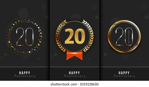 Set of 20th Happy anniversary cards template.