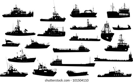 Set of 21 (twenty one) silhouettes of sea yachts, towboat and the ships