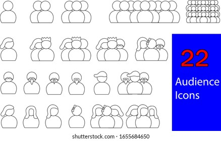 Set of 22 Audience Icons representing first party, second party, third party, male audiences, female audiences, all-male audience icons, all-female audience icons, and mixed gender audience icons.