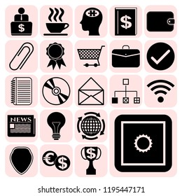 Set of 22 business high quality icons or symbols. Collection. Detailed design. Vector Illustration.