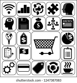 Set of 22 business high quality symbols or icons. Collection. Amazing desing. Vector Illustration.