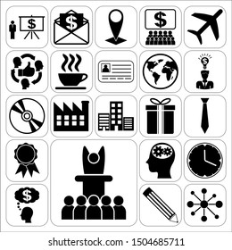 Set of 22 business high quality symbols. Collection. Flat design. Vector Illustration.