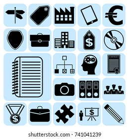Set of 22 business high quality icons. Collection. Amazing desing. Vector Illustration.
