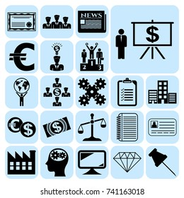 Set of 22 business high quality symbols or icons. Collection. Detailed design. Vector Illustration.
