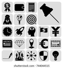 Set of 22 business high quality symbols. Collection. Flat design. Vector Illustration.