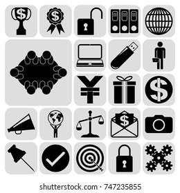 Set of 22 business high quality symbols. Collection. Detailed design. Vector Illustration.
