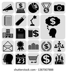 Set of 22 business icons, pictograms, symbols. Collection. Flat design. Vector Illustration.