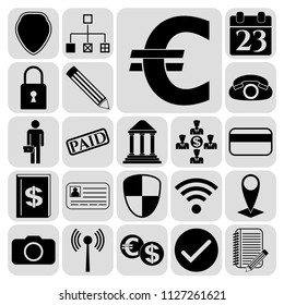 Set of 22 business icons or symbols. Collection. Flat design. Vector Illustration.