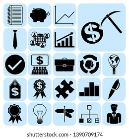 Set of 22 business icons, symbols or pictograms. Collection. Detailed design. Vector Illustration.