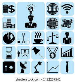 Set of 22 business icons, symbols or pictograms. Collection. Amazing desing. Vector Illustration.