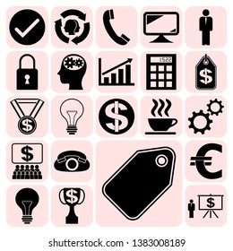 Set of 22 business related icons. Collection. Detailed design. Vector Illustration.