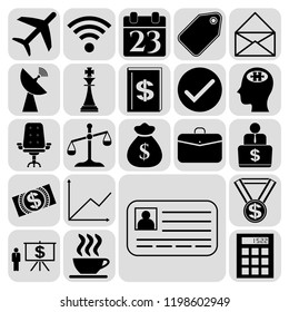Set of 22 business symbols of icons. Collection. Amazing desing. Vector Illustration.