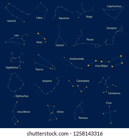 Set of 22 constellations. Yellow stars on a blue background, with names in Latin, made in the vector