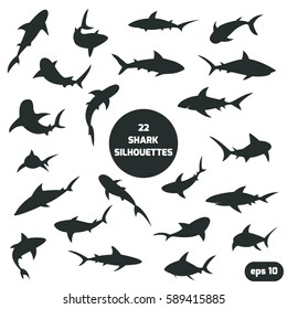 Set of 22 different shark silhouettes for you design.