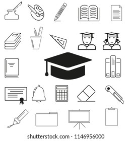 Set of 22 instruments education outline style icons, school and university with elements for mobile concepts and web apps. Collection modern infographic logo and pictogram.