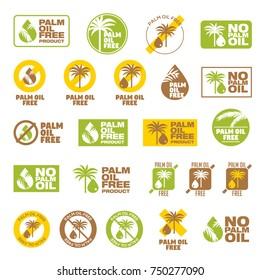 Set 23 Color Icons Palm Oil Free, set of badges, emblems and stamps vector for packaging