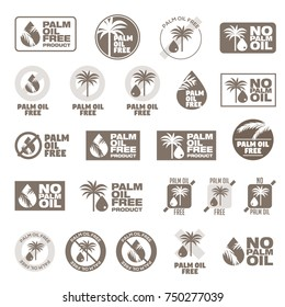 Set 23 Icons Palm Oil Free, set of badges, emblems and stamps vector for packaging