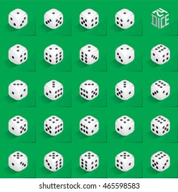 A Set of 24 Authentic Icons of Dice in All Possible Turns - Isometric White Cubes with Black Pips on Natural Paper Effect Background - 3d Illusion Gradient Graphic