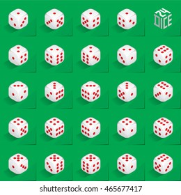 A Set of 24 Authentic Icons of Dice in All Possible Turns - Isometric White Cubes with Red Pips on Green Natural Paper Effect Background - 3d Illusion Gradient Graphic