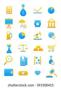 Set of 24 blue-yellow economy icons