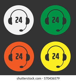 Set 24 call center icon. Vector Illustration