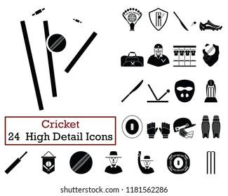 Set of 24  Cricket Icons. Monochrome color design. Vector illustration.