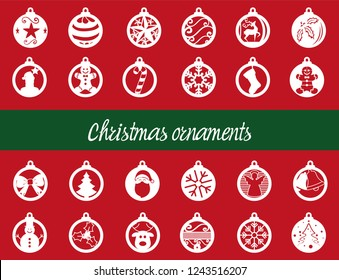 Set of 24 different Christmas ornaments / ready to cut them / Holiday Collection Set