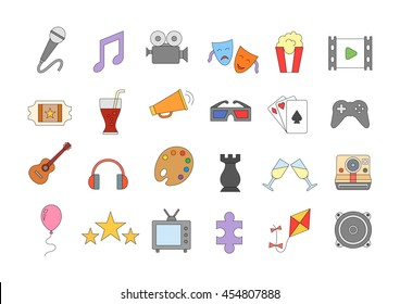 Set of 24 entertainment colorful vector icons