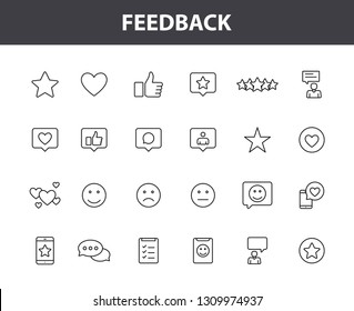 Set of 24 Feedback and Review icons in line style. Star Rating, Emotion symbols. Vector illustration