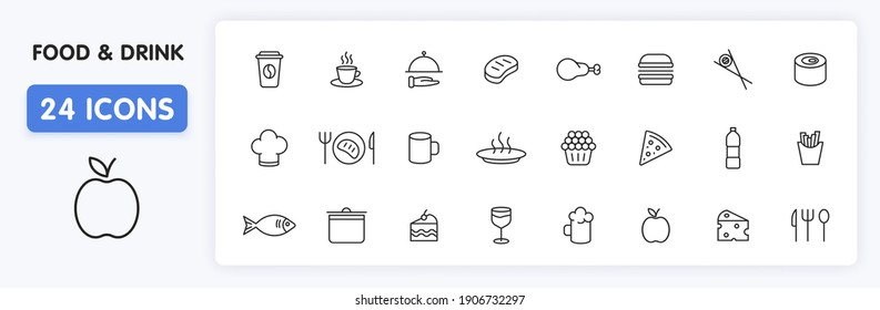 Set of 24 Food and Drink web icons in line style. Coffe, water, eat, restaurant, fastfood. Vector illustration.