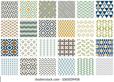 Set of 24 geometric seamless patterns. Vector ceramic tiles, wallpapers, fabric swatch, pattern fills, web page background, surface textures. Ribbons, borders set.