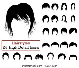 Set of 24 Hairstyles Icons in Black Color. Vector illustration.