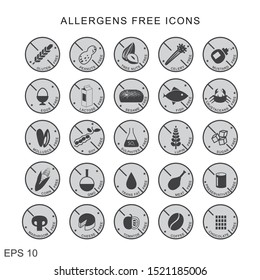 SET OF 24 ICONS ALLERGENS FREE FOOD, ROUND , GRAY, VECTOR