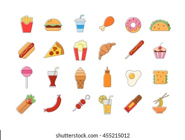 Set of 24 Junk food vector icons