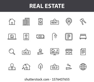 Set of 24 Real Estate web icons in line style. Rent, building, agent, house, auction, realtor. Vector illustration.
