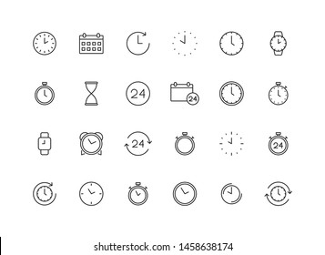 Set of 24 Time and clock web icons in line style. Timer, Speed, Alarm, Calendar. Vector illustration.