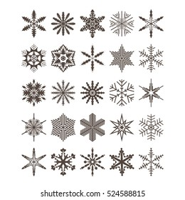 A set of 24 vector blue snowflakes on a white background. Snowflake set for winter design. Vector illustration.