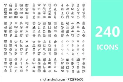 Set of 240 Quality icons (Audio music,Business,Startup,Computer security,Office,Travel,Online marketing,Medical,Halloween,E-commerce,School,Design marketing)