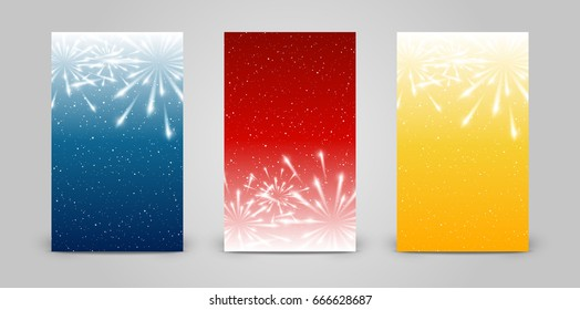 Set of 240 x 400 vertical banners with fireworks