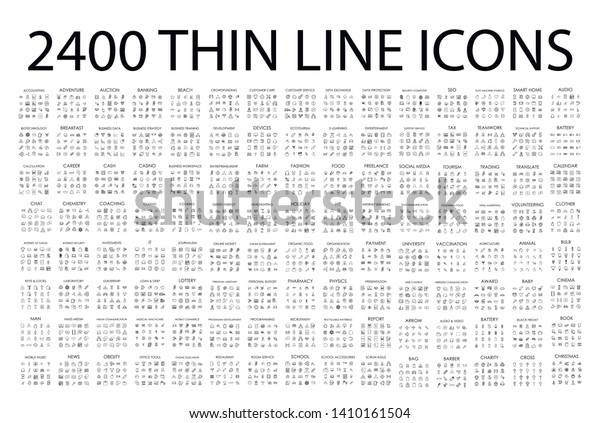 Set of 2400 modern thin line icons. Outline isolated signs for mobile and web. High quality pictograms. Linear icons set of business, medical, UI and UX, media, money, travel, etc.