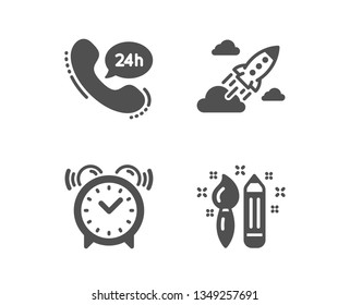 Set of 24h service, Alarm clock and Startup rocket icons. Creativity sign. Call support, Time, Business innovation. Graphic art.  Classic design 24h service icon. Flat design. Vector