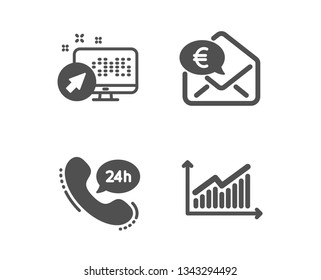 Set of 24h service, Euro money and Web system icons. Graph sign. Call support, Receive cash, Computer. Presentation diagram.  Classic design 24h service icon. Flat design. Vector