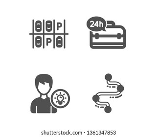 Set of 24h service, Parking place and Person idea icons. Timeline sign. Support, Transport, Lamp energy. Journey path.  Classic design 24h service icon. Flat design. Vector