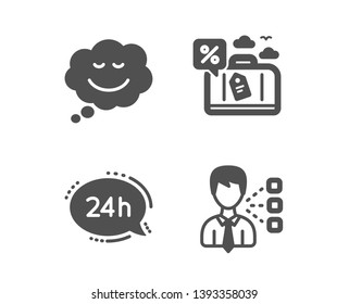 Set of 24h service, Travel loan and Speech bubble icons. Third party sign. Call support, Trip discount, Comic chat. Team leader.  Classic design 24h service icon. Flat design. Vector