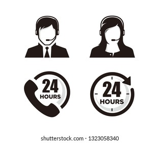 Set of 24hours icon vector