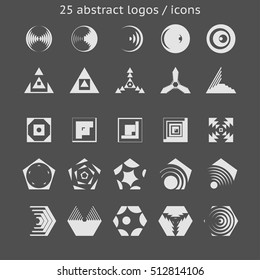 Set of 25 abstract logos icons composed of geometrical primitives. Design elements for wide range purposes. Interface design, business, media, entertainment, science graphics