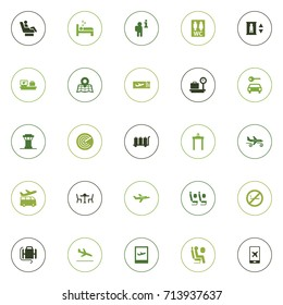 Set Of 25 Aircraft Icons Set.Collection Of Packing, Sleep, Forbidden And Other Elements.