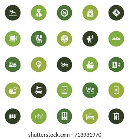 Set Of 25 Airplane Icons Set.Collection Of Sitting Man, Buckle, Pinpoint And Other Elements.