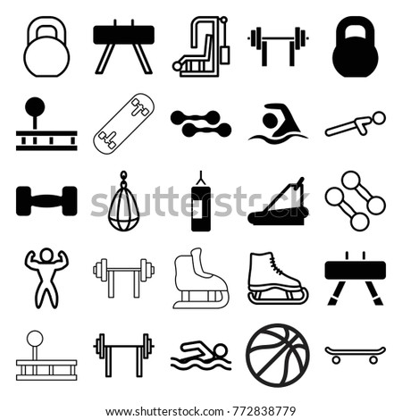 Set 25 Athletic Filled Outline Icons Stock Vector (Royalty Free